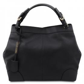 Γυναικεία Τσάντα Δερμάτινη TL142143-Μαύρο