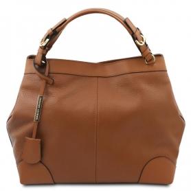 Γυναικεία Τσάντα Δερμάτινη TL142143-Κονιάκ
