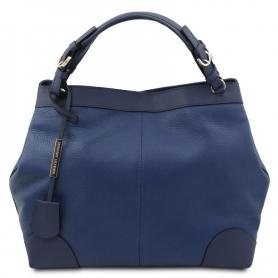 Γυναικεία Τσάντα Δερμάτινη TL142143-Μπλε σκούρο