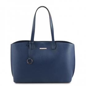 Γυναικεία Τσάντα Ώμου Δερμάτινη TL141828-Μπλε σκούρο